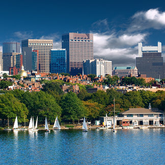 The city of Boston and Charles river