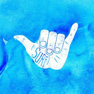 Surf Hang Loose Hawaiian Ocean Blue Hip Watercolor