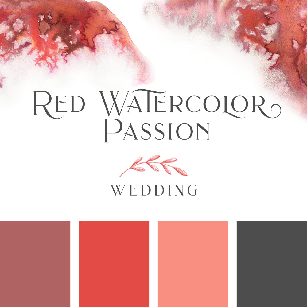 Red Watercolor Passion Wedding