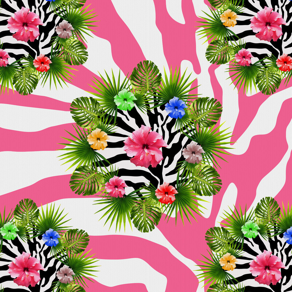 Tropical hibiscus and exotic pink zebra