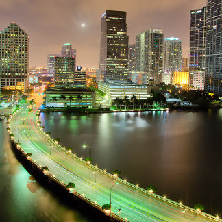Bridge leads across waterway to downtown Miami