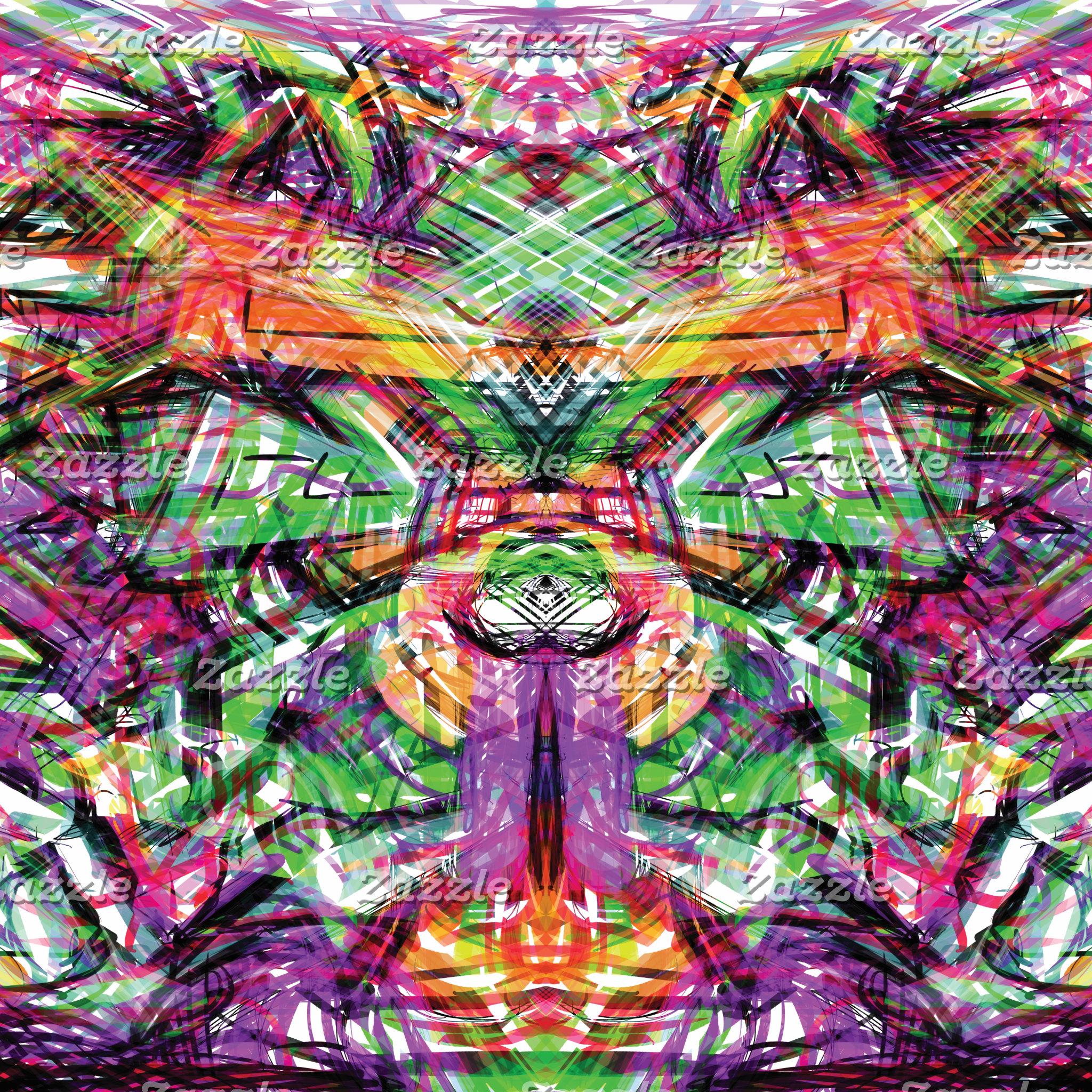 Neon Tribal Graffiti Abstract ArtWork