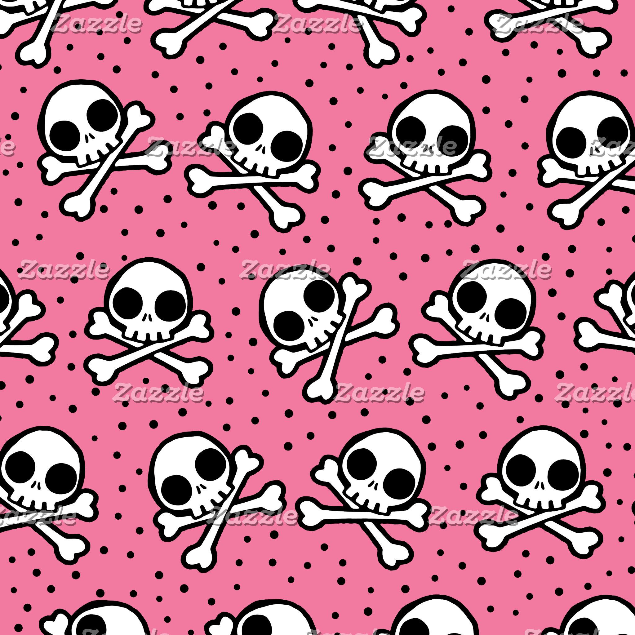 Cute Pink Skull And Crossbones Pattern
