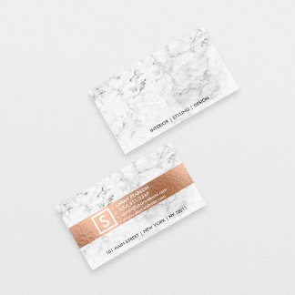 Modern white marble faux copper metal professional