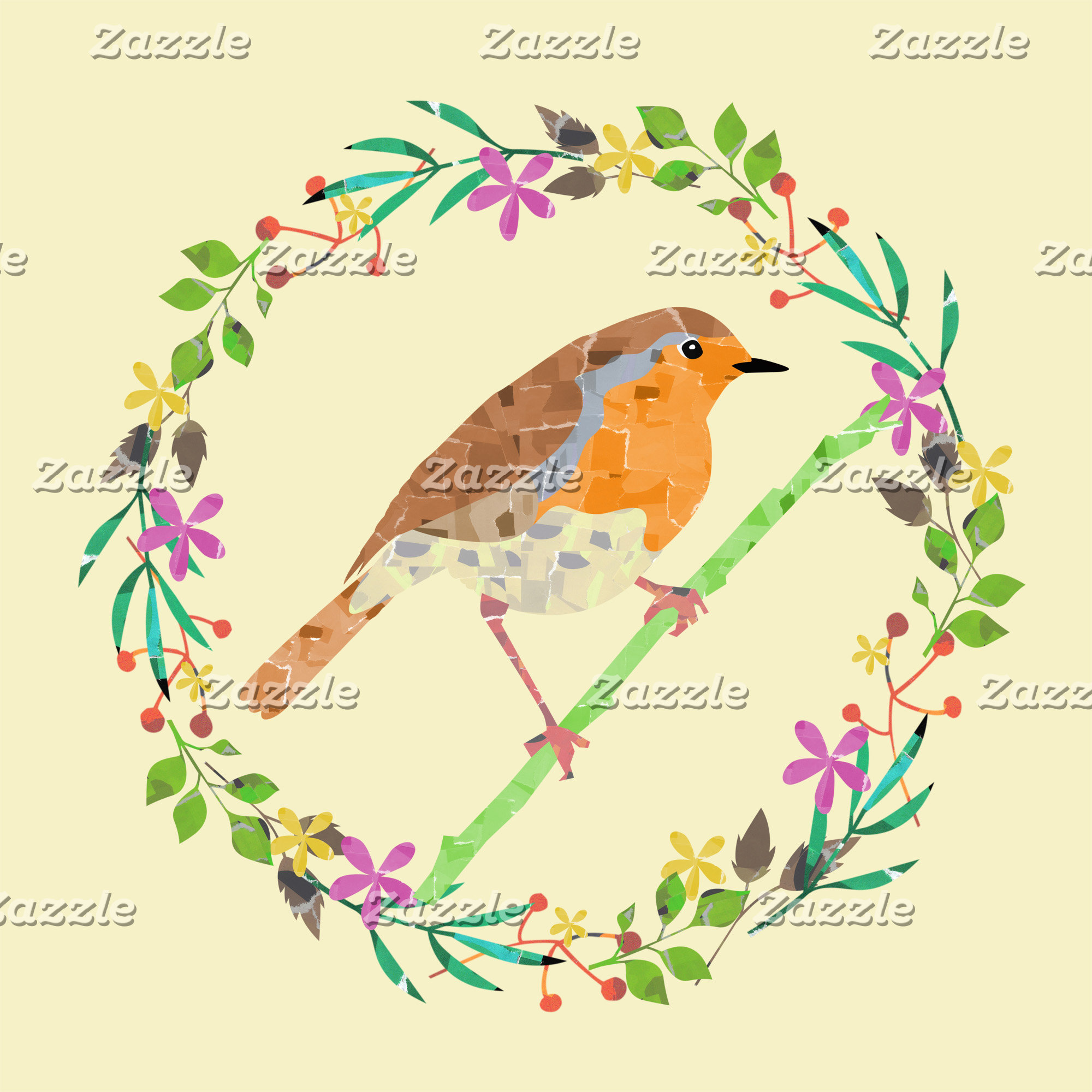Happy Christmas robin redbreast bird and flowers