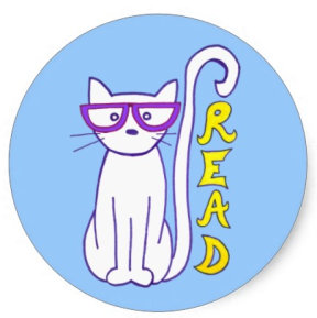White Cat with Purple Glasses