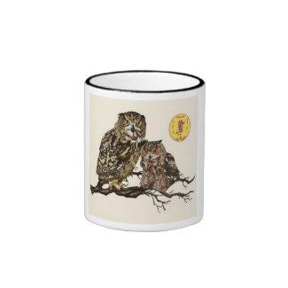 ベンガルワシミミズク&ユーラシアワシミミズク(ベンジー&マーズ) リンガーマグカップ