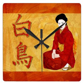 SwanGeishaの日本のな民芸 スクエア壁時計
