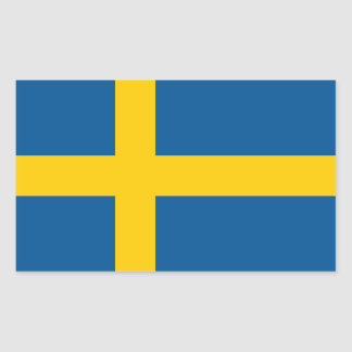 Swedish*の旗のステッカー 長方形シール