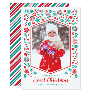 Sweet Christmas Holiday Photo Card カード