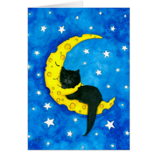 Sweet Dreams Cat on the Moon by Bihrle カード
