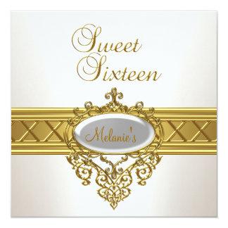 Sweet sixteenの誕生会のエレガントなホワイトゴールド カード