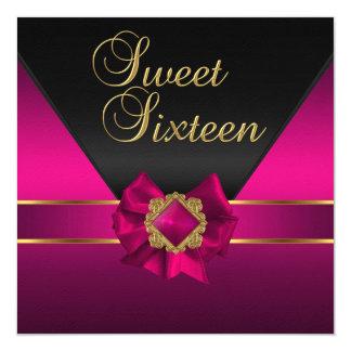 Sweet sixteenの誕生会の暗いピンクの絹の金ゴールド カード