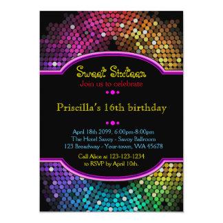 Sweet sixteenの誕生日の招待、シックなディスコのスタイル カード