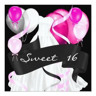 Sweet sixteenの黒いピンクの白い服の気球 カード