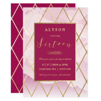 Sweet sixteen、ガーリーな第16誕生日の招待状の金ゴールド カード