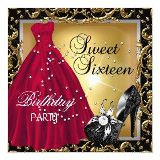 Sweet sixteen 16の誕生会の赤い金ゴールドの服 カード