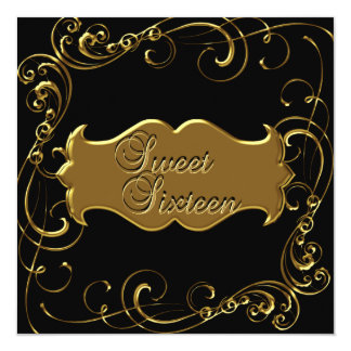 Sweet sixteen 16誕生日のエレガントで黒い金ゴールド カード