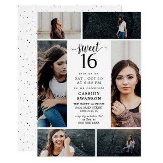 Sweet Sixteen Photo Collage 12.7 X 17.8 インビテーションカード