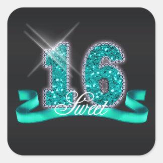 Sweet Sixteen Sparkle Teal ID120 スクエアシール