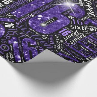 Sweet Sixteen Sparkle Word Cloud Purple ID265 ラッピングペーパー