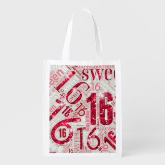 Sweet Sixteen Sparkle Word Cloud Red ID265 エコバッグ