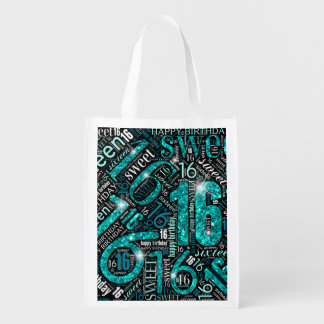Sweet Sixteen Sparkle Word Cloud Teal ID265 エコバッグ