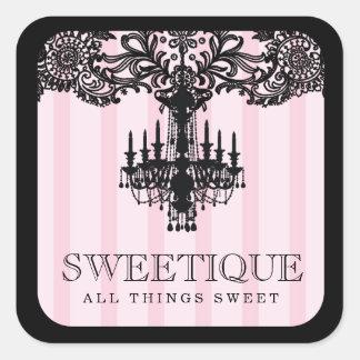 Sweetiqueの311のピンクのストライプ及びレースのシャンデリア スクエアシール