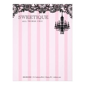 Sweetiqueの311のピンクのストライプ及びレースのシャンデリア レターヘッド