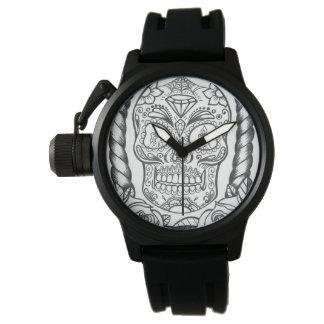 Sweetpieart著入れ墨の芸術のSugarskullの素晴らしい腕時計 腕時計