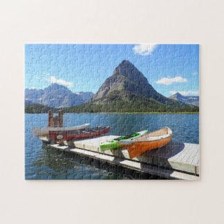 Swiftcurrent湖のボートのグレーシャー国立公園 ジグソーパズル
