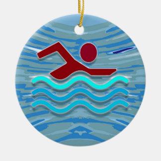 SWIM Swimmer Love Heart Pink Red Pool  FUN セラミックオーナメント