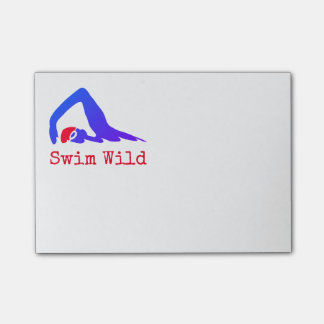 Swim Wild with text you can personalize ポストイット