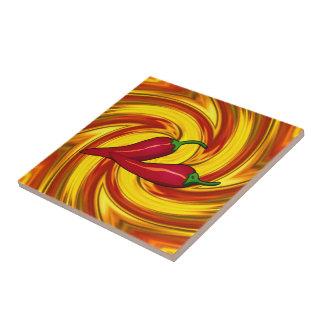 swirled mandala gold red hot spicy peppers タイル