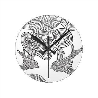 """Swirlie鳥""の時計 ラウンド壁時計"