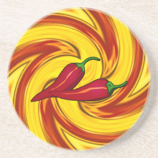 swirling gold red orange hot red peppers コースター