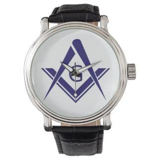 syコンパスのフリーメーソン会員ギルドの石大工の団体や組織の印 腕時計