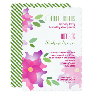 Sylizedのツツジのピンクの第50誕生日の招待状 カード