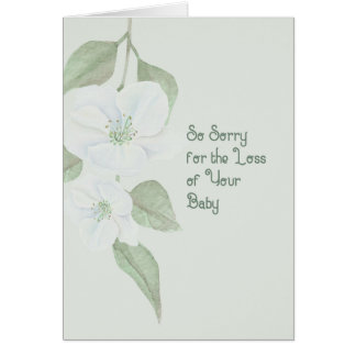 Sympathy Card for Loss of Baby Green Floral カード