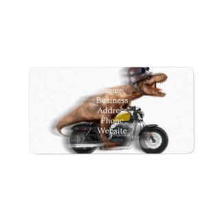 Tのレックスのオートバイティラノサウルス・レックスtのレックス-恐竜 ラベル