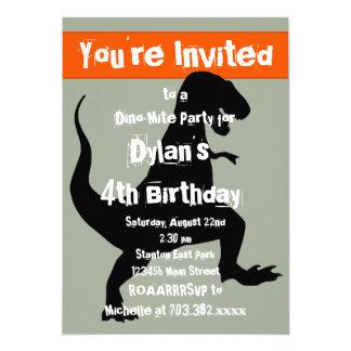 Tのレックスの恐竜のオレンジ誕生日のパーティの招待状 カード