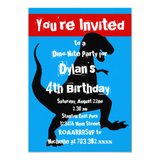 Tのレックスの恐竜の紫系統の誕生日のパーティの招待状 カード