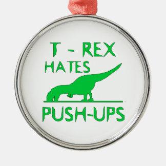 Tのレックスはプッシュ・アップのおもしろいなディーノのデザインを憎みます メタルオーナメント