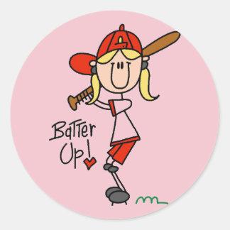 Tシャツおよびギフトの上の女の子の野球のねり粉 ラウンドシール