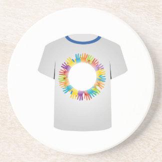 Tシャツの写実的で多彩な手 コースター