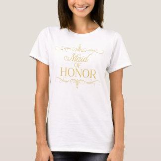 Tシャツを結婚する金ゴールドのメイド・オブ・オーナー(花嫁付き添い人)のワイシャツの金ゴールド Tシャツ