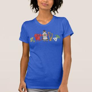 Tシャツ: ウェールズのラッパスイセン、ドラゴン、ニラネギ、ハープ Tシャツ