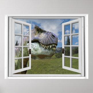 Tレックスの恐竜の写真の眺めの偽造品の窓 ポスター