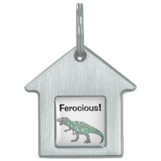 Tレックスの恐竜の落書きの図解入りの、写真付きのな芸術 ペットネームタグ
