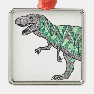 Tレックスの恐竜の落書きの図解入りの、写真付きのな芸術 メタルオーナメント